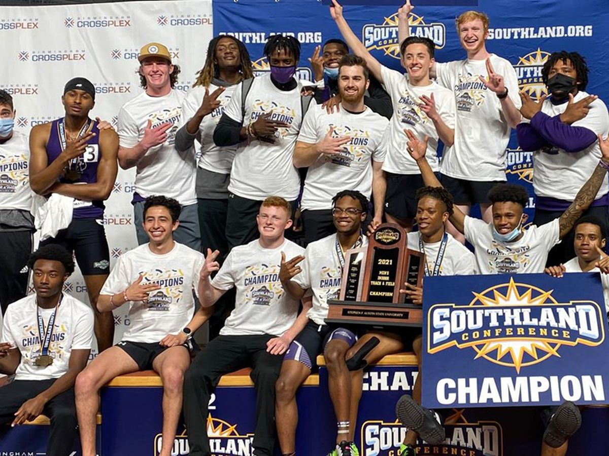 SFA Men's Track team wins SLC Indoor Championship following dramatic finish