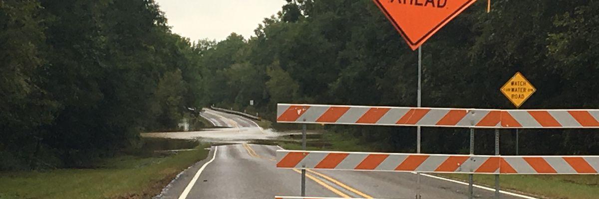 Several roadways flooded by heavy rain in Deep E. Texas