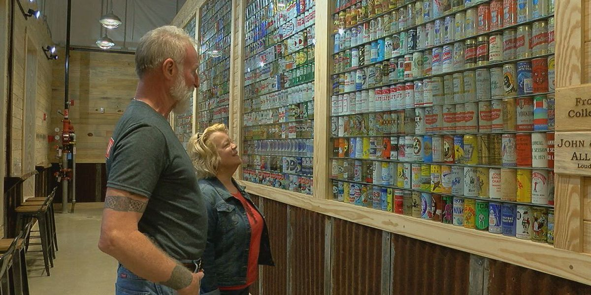 Former owners of a beloved beer can collection visit its new home