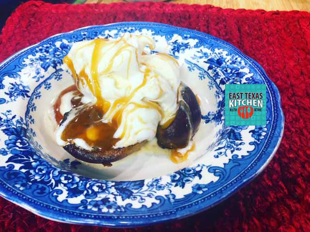 Grilled ginger peaches with ice cream and caramel drizzle by Mama Steph