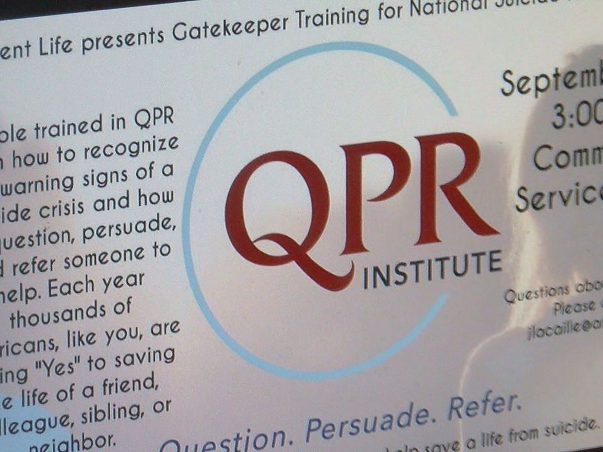 Angelina College to host QPR training event in honor of Suicide Awareness Week