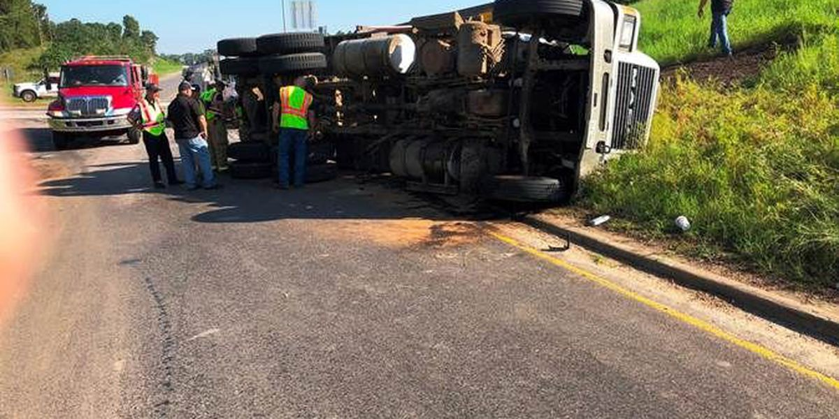 Overturned truck blocking on-ramp at SH-7 and US 59 South in Nacogdoches