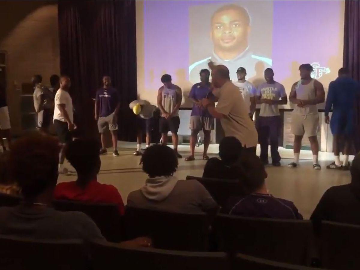 SFA Coach Carthel surprises senior with scholarship