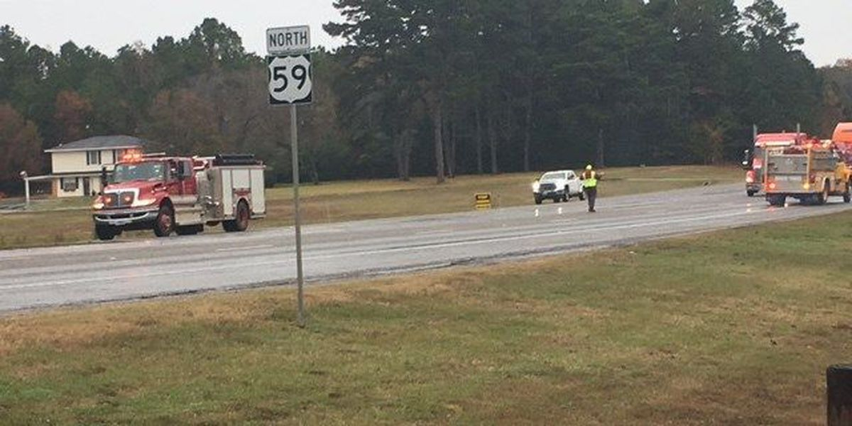 Emergency crews working fatal wreck involving 18-wheeler, pickup in Nacogdoches County