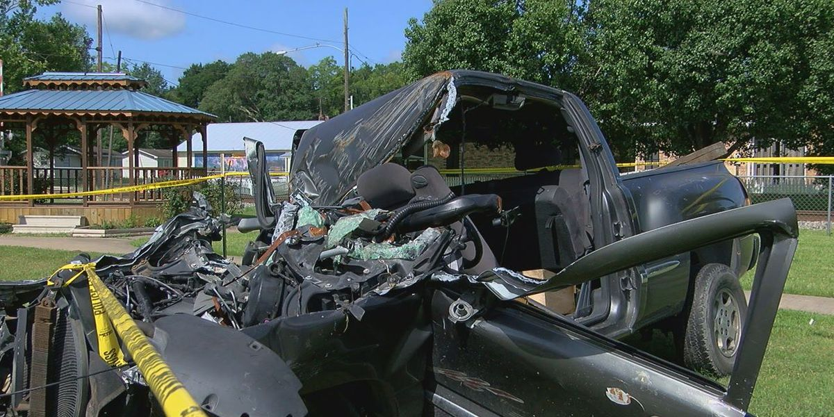 Corrigan PD displays wrecked car to send a message for drivers to slow down