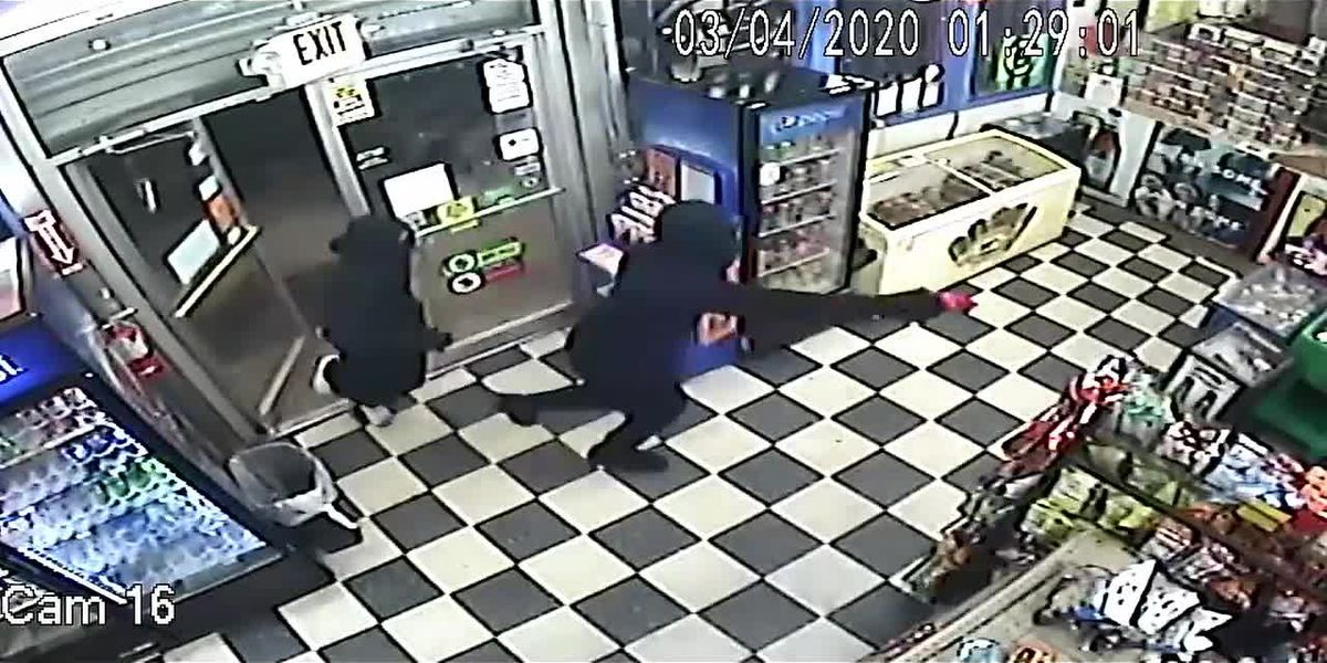 Surveillance shows 2 robbing Lufkin Super S with red gun