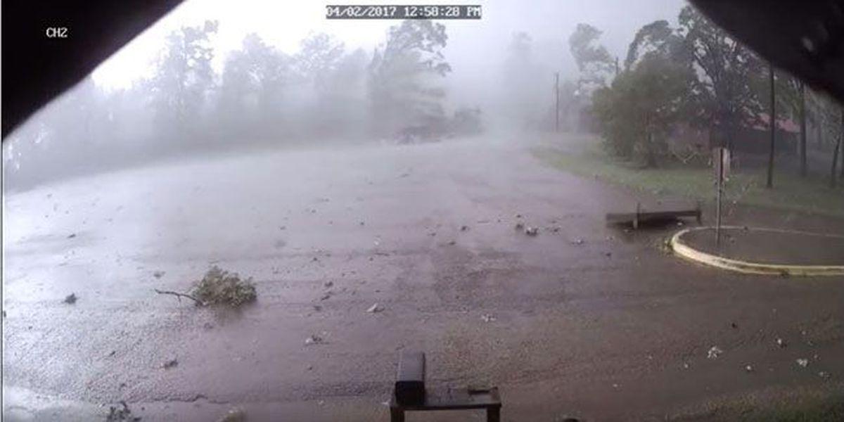 Surveillance cameras at marina capture San Augustine County tornado