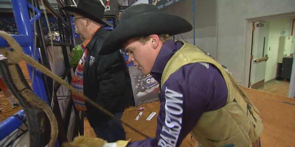 18-year old Lovelady bull rider competing with the pros at Bull Bash