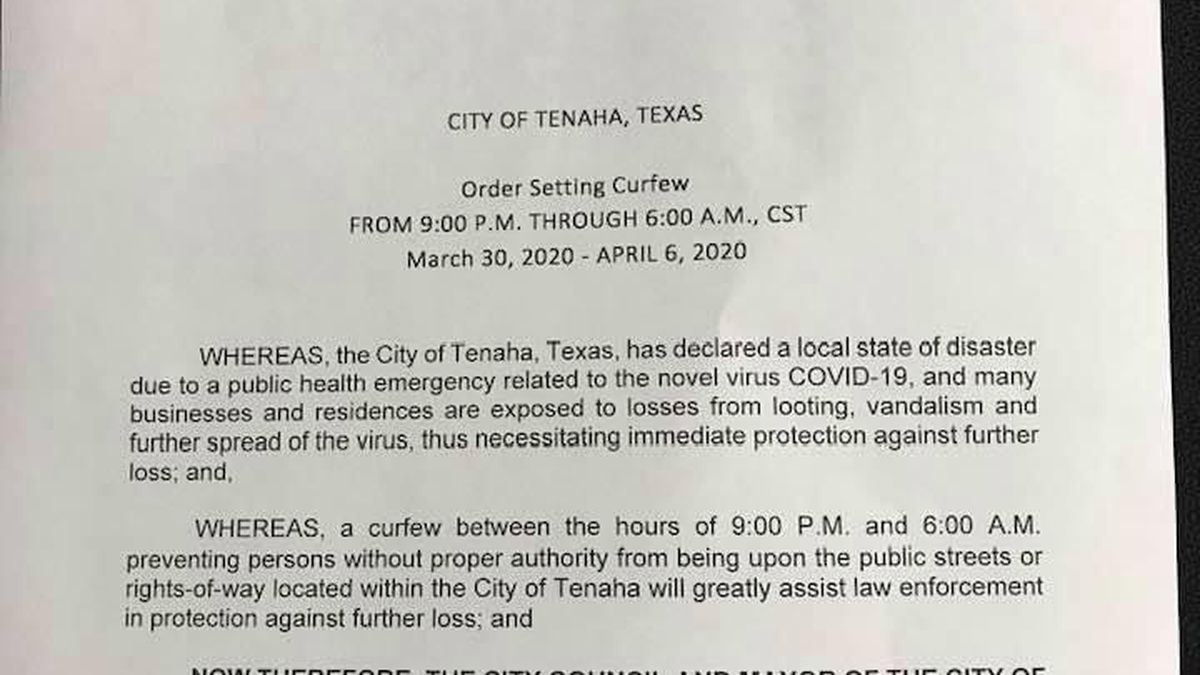 Tenaha officials issue 'stay home, stay safe order, curfew beginning tonight