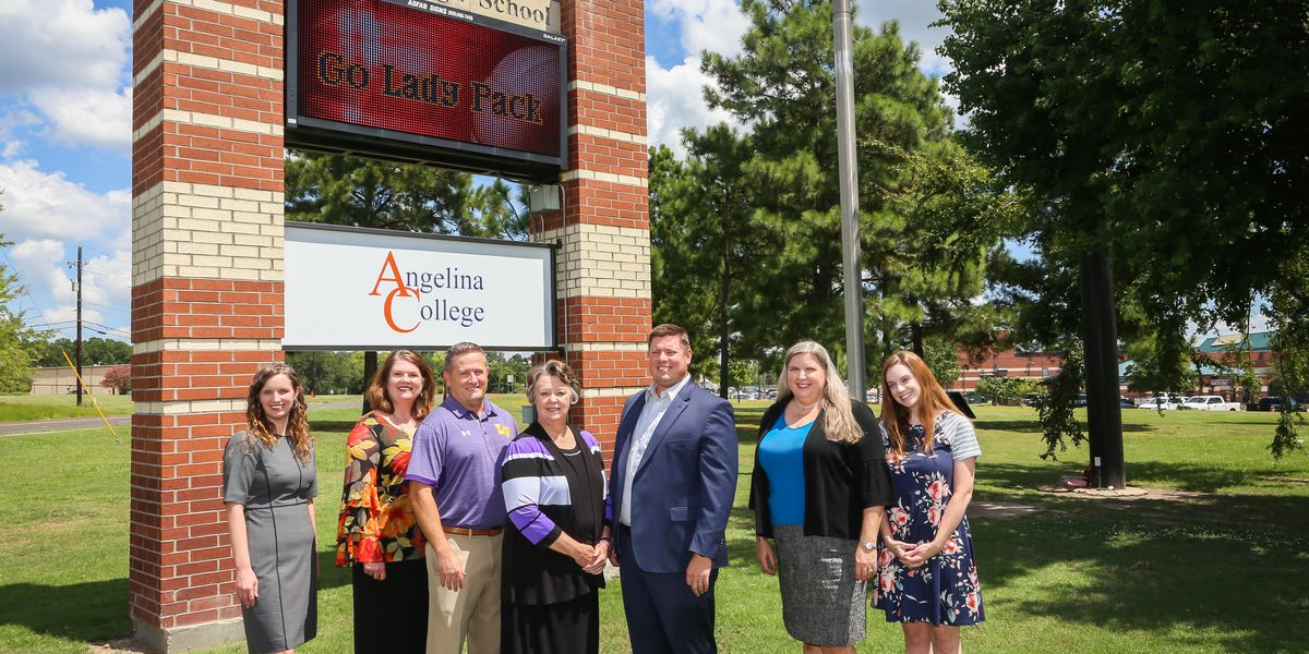 Angelina College sign now on display at Lufkin High School