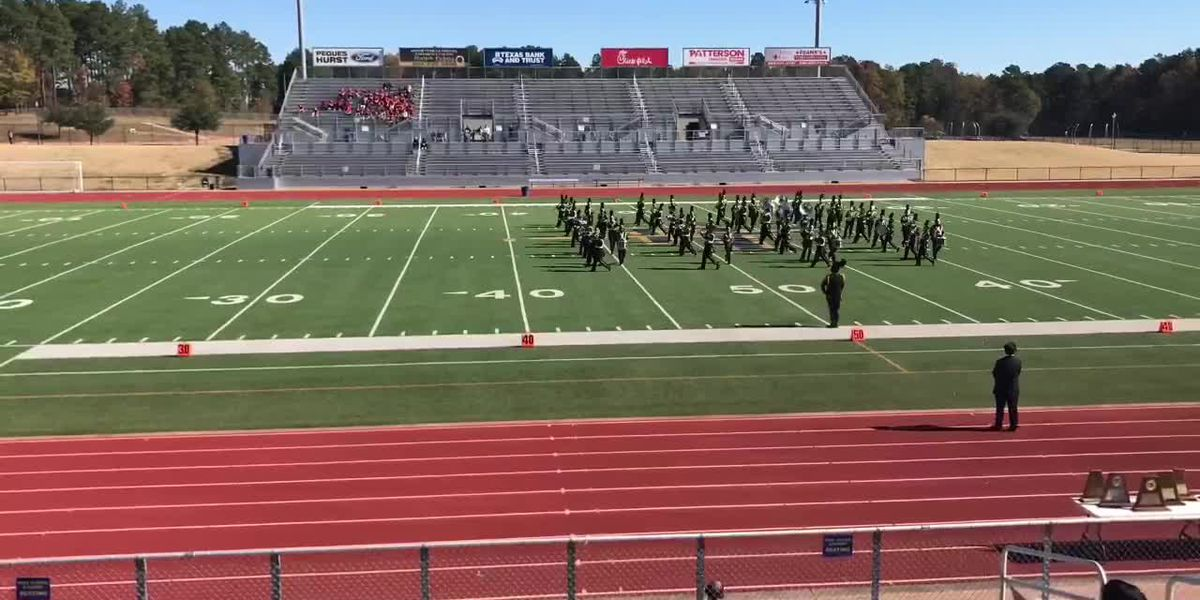 Bands compete in UIL State Military Class Marching Band Championships at Pine Tree High School