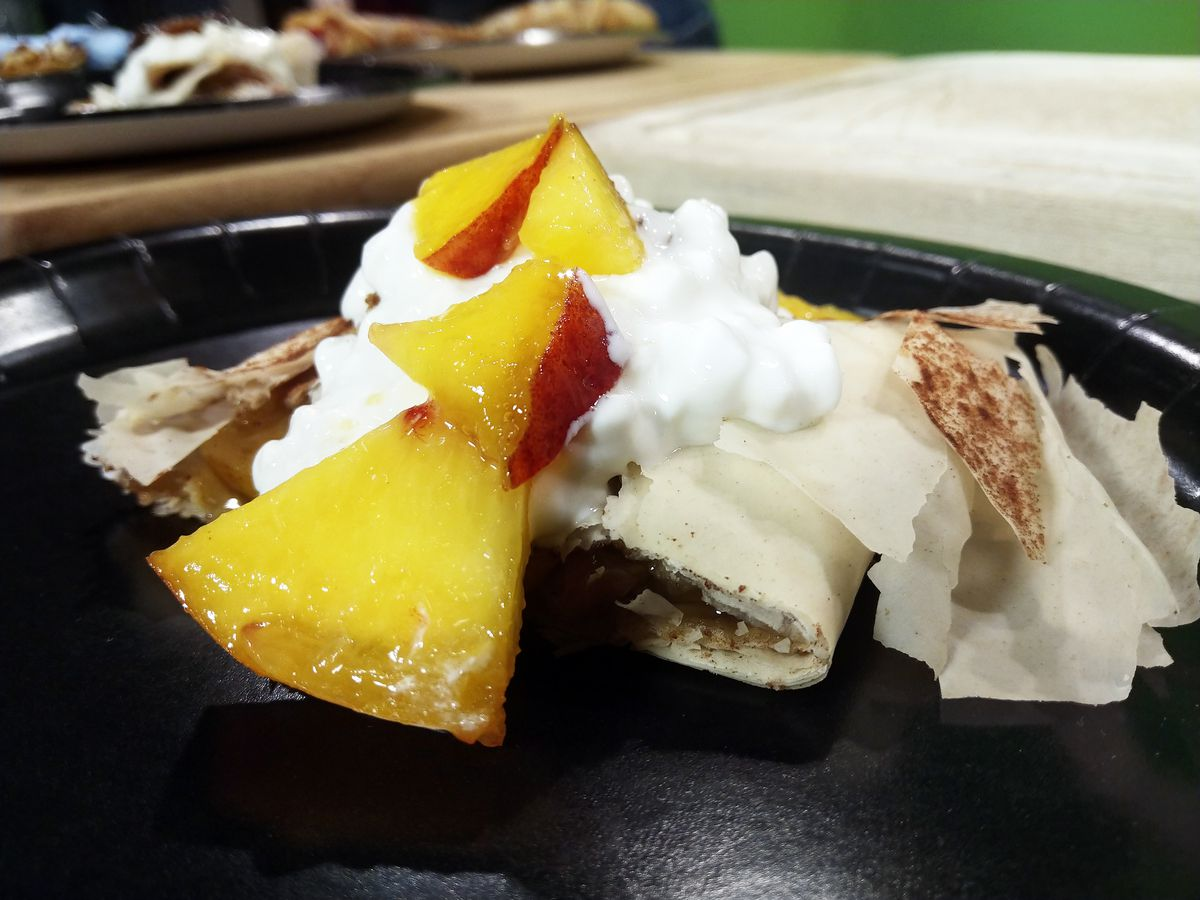 Peach crepes from Mike Chubboy of Brigitta's Hungarian Restaurant