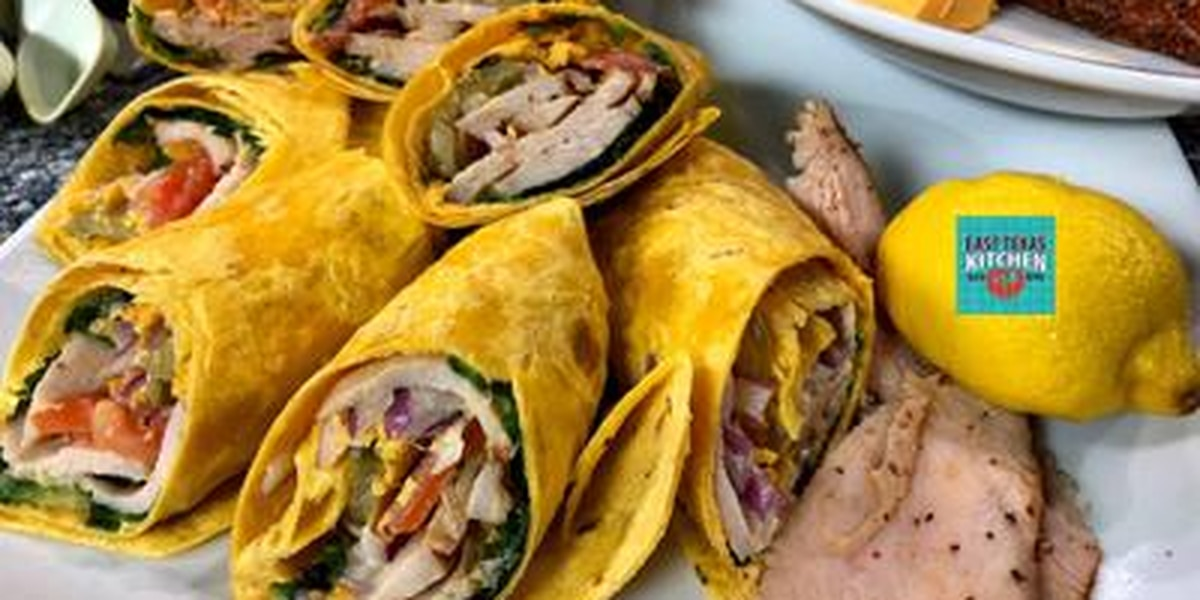 Cajun turkey wrap with homemade sweet mustard dressing by Chef David Wallace
