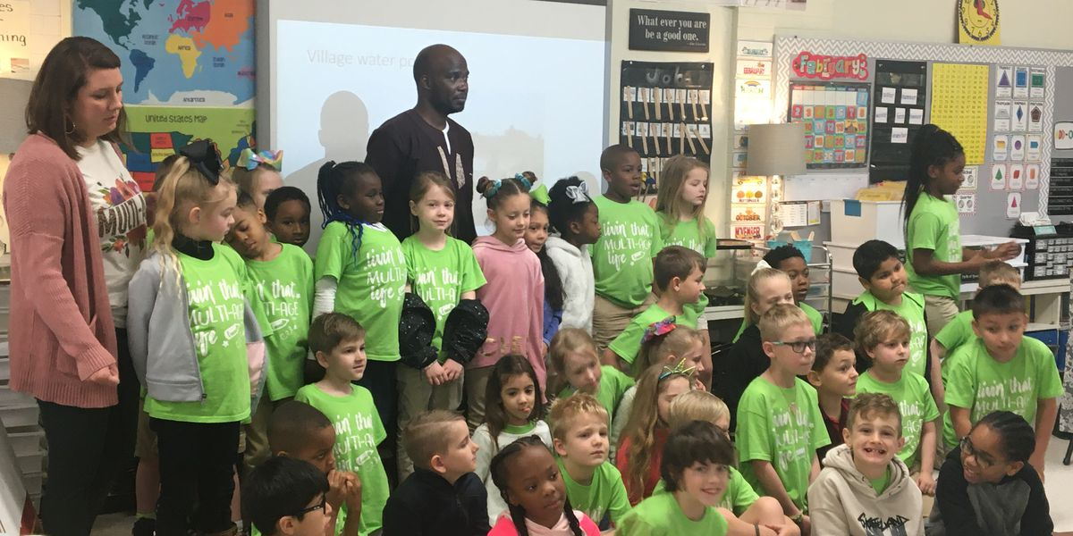 Ugandan speaker expresses the importance of water resources to Dunbar Primary students
