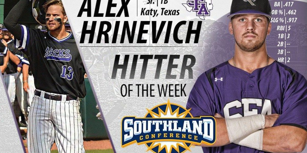 Hrinevich secures Southland Conference Hitter of the Week honor