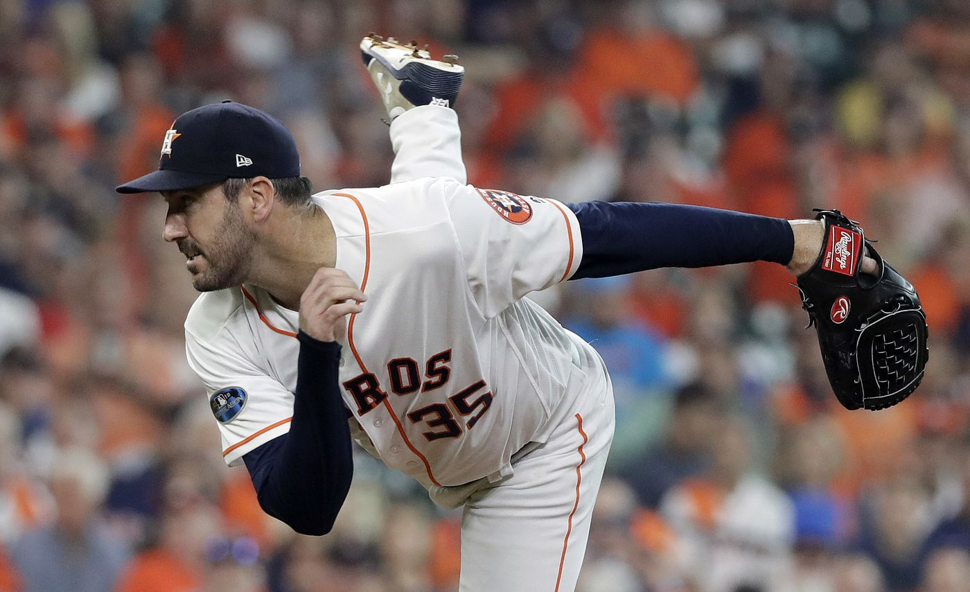 19581dacc Houston Astros starting pitcher Justin Verlander (35) delivers a pitch  against the Cleveland Indians