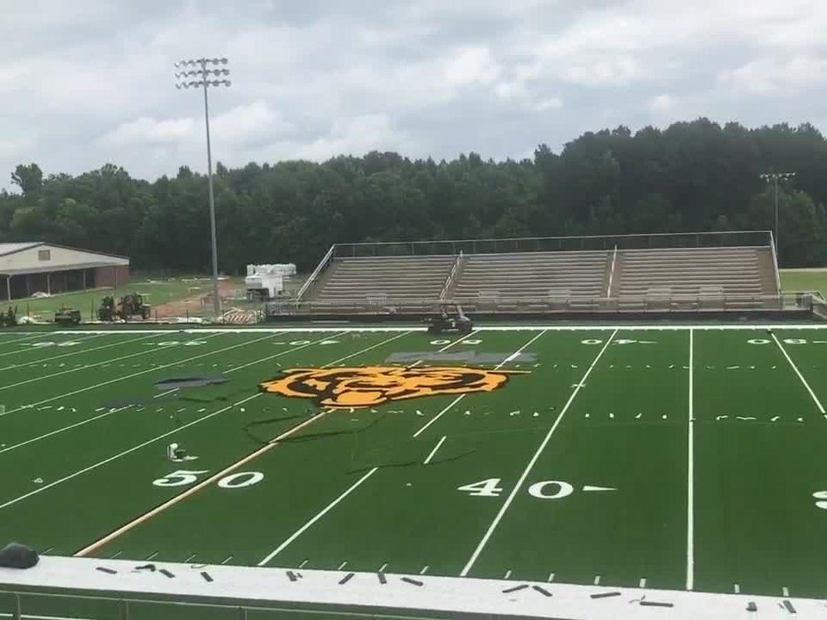 Timpson High School installs new turf field ahead of 2020-21 sports season