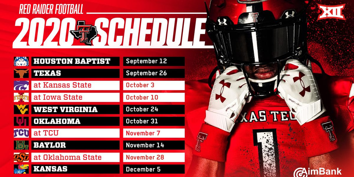 Texas Tech football schedule released, Big 12 opener against the Texas Longhorns