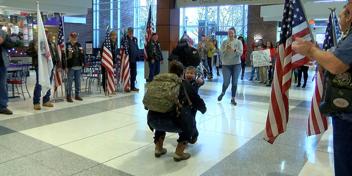 Patriot Guard and families welcome home East Texas service members
