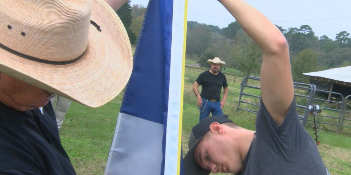 Woden HS agriscience students donate flagpole to Nacogdoches Marine veteran