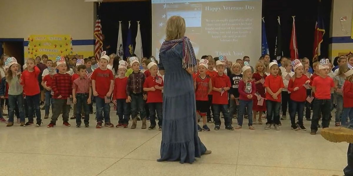 WEBXTRA: Zavalla Elementary School students honor veterans with music, gifts