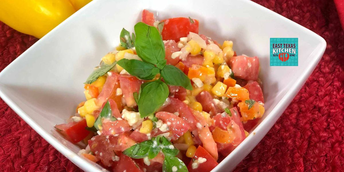 Fresh farmer's market salad with corn, tomatoes and basil by Mama Steph