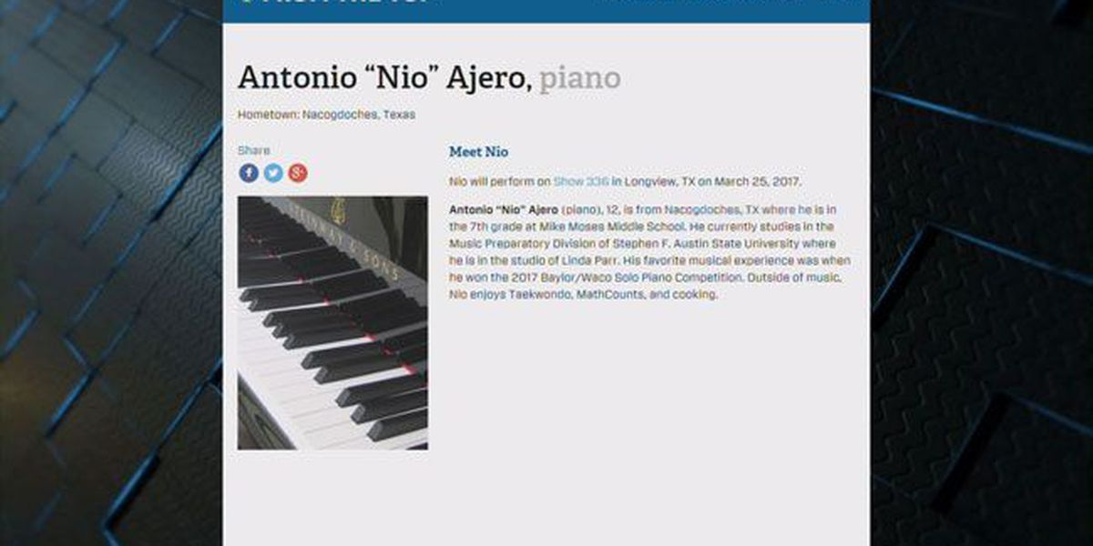 Nacogdoches piano prodigy to perform on NPR's 'From the Top' radio show