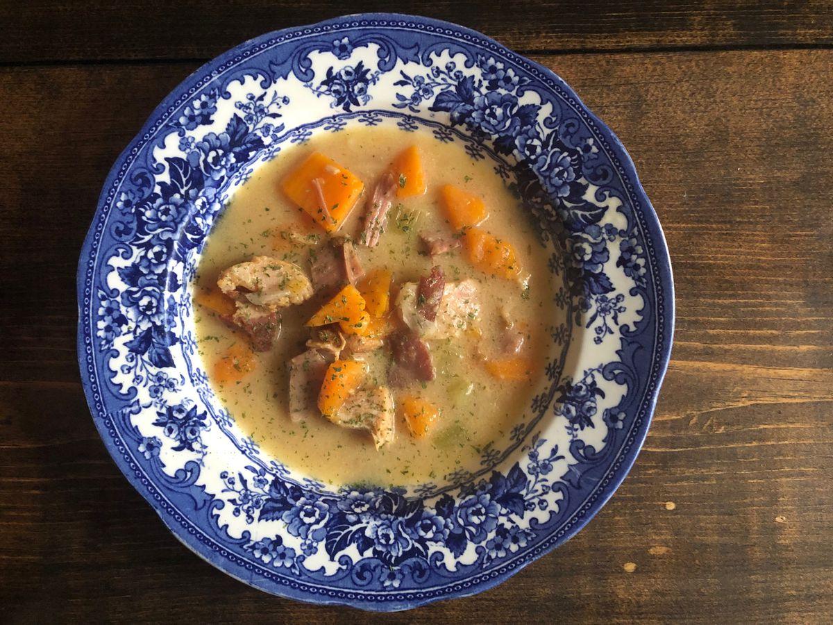 Leftovers? Creamy smoked turkey-sweet potato soup by Mama Steph