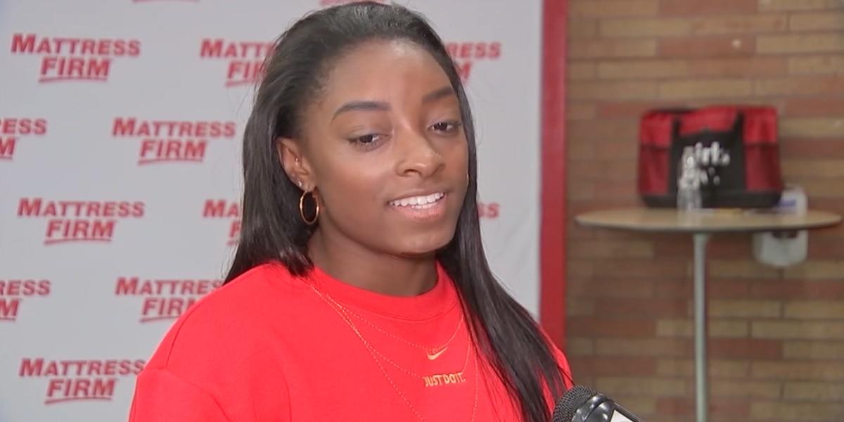 Simone Biles surprises students at a Texas school