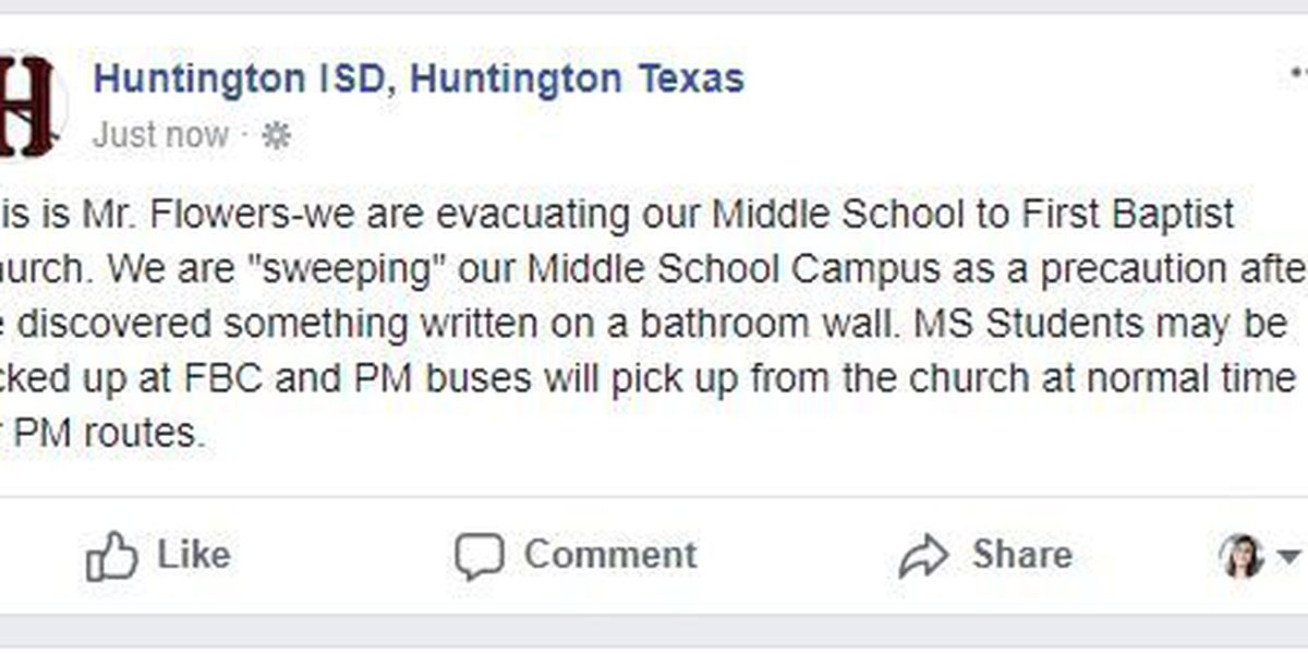 UPDATED: Huntington ISD evacuates middle school students, staff to nearby church