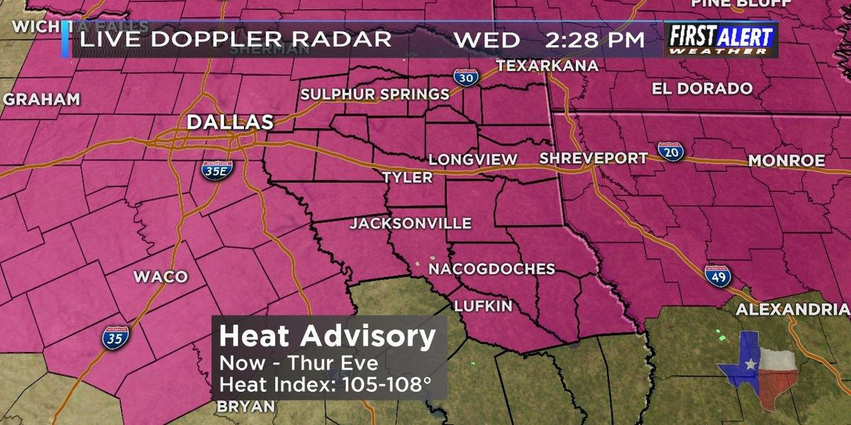 Heat Advisories in effect through Friday for most of ETX