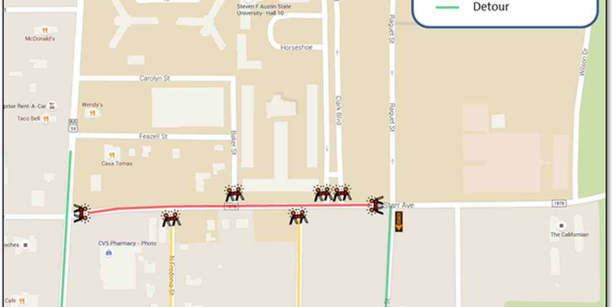 SFA warns students to be aware of construction on Starr Ave.