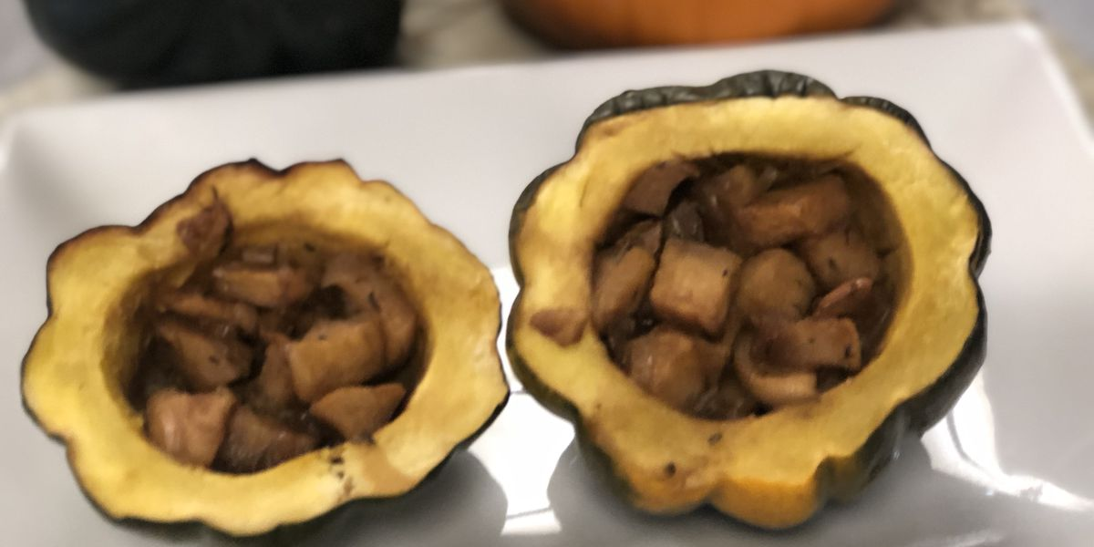 Apple-stuffed baked acorn squash by Mama Steph