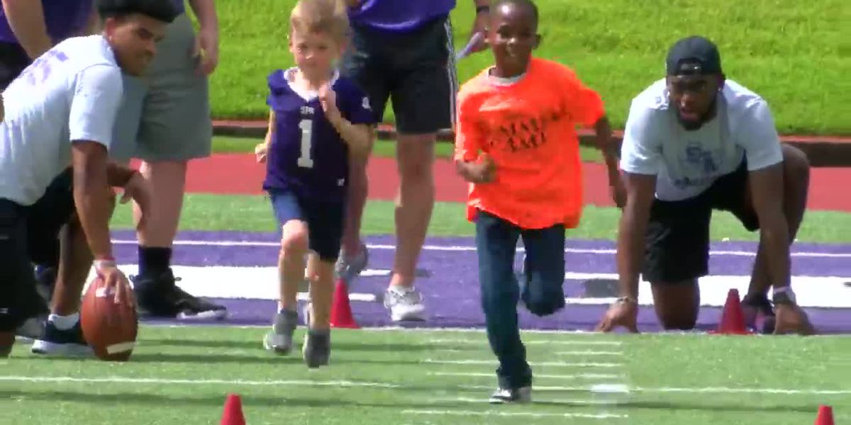 SFA Football program holds free youth camp for East Texas kids