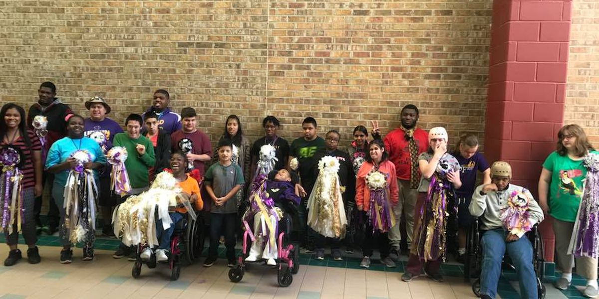 Entire Lufkin High Special Services Department receives donated homecoming gear