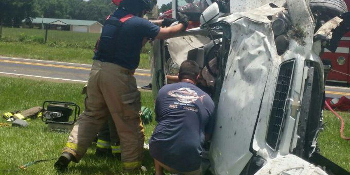 Jasper County rollover wreck injures 2 men