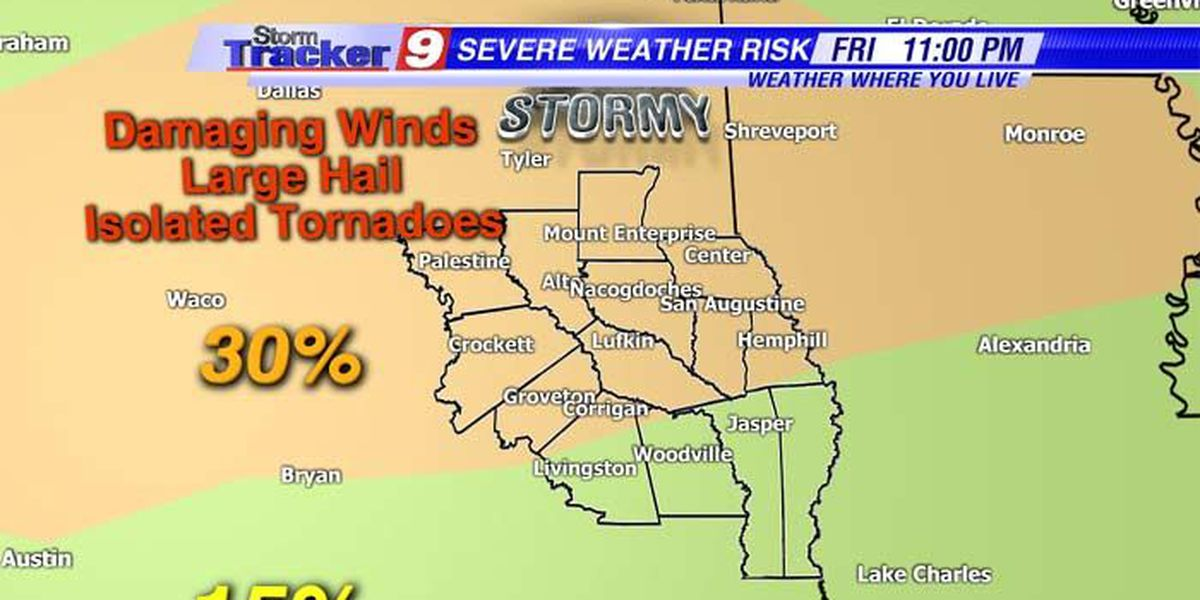 An active night of severe thunderstorms still likely for Deep East Texas