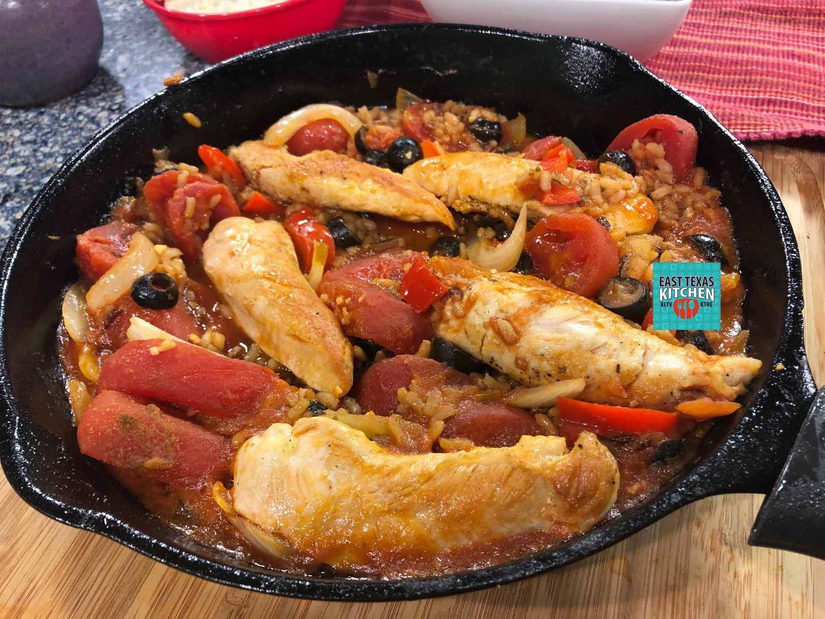 Mediterranean-inspired chicken and rice skillet supper
