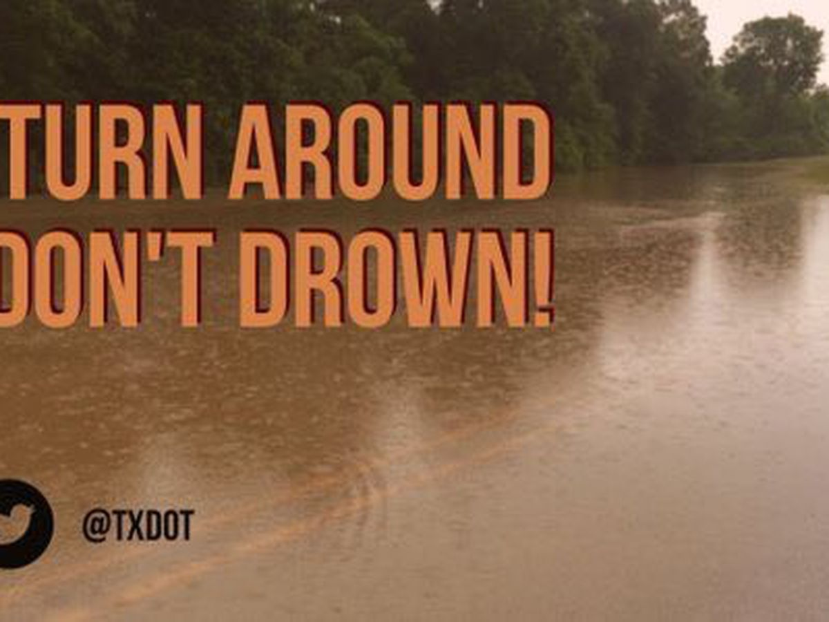 Flooded or closed roadways in East Texas