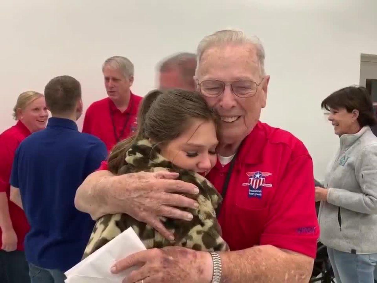 Apache Belles discuss cross-generation bonding with veterans on Brookshire's Heroes Flight