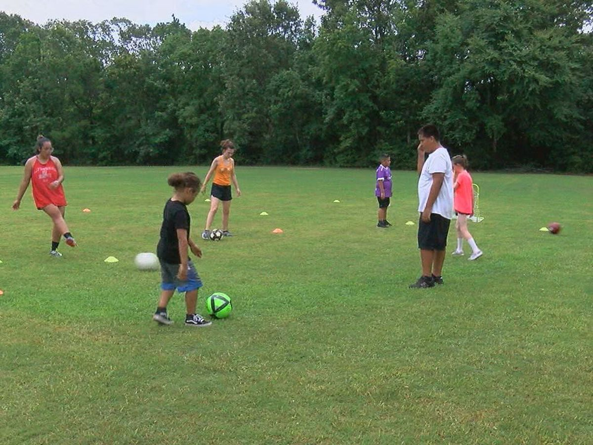 Kids learn soccer skills through summer camp in Diboll