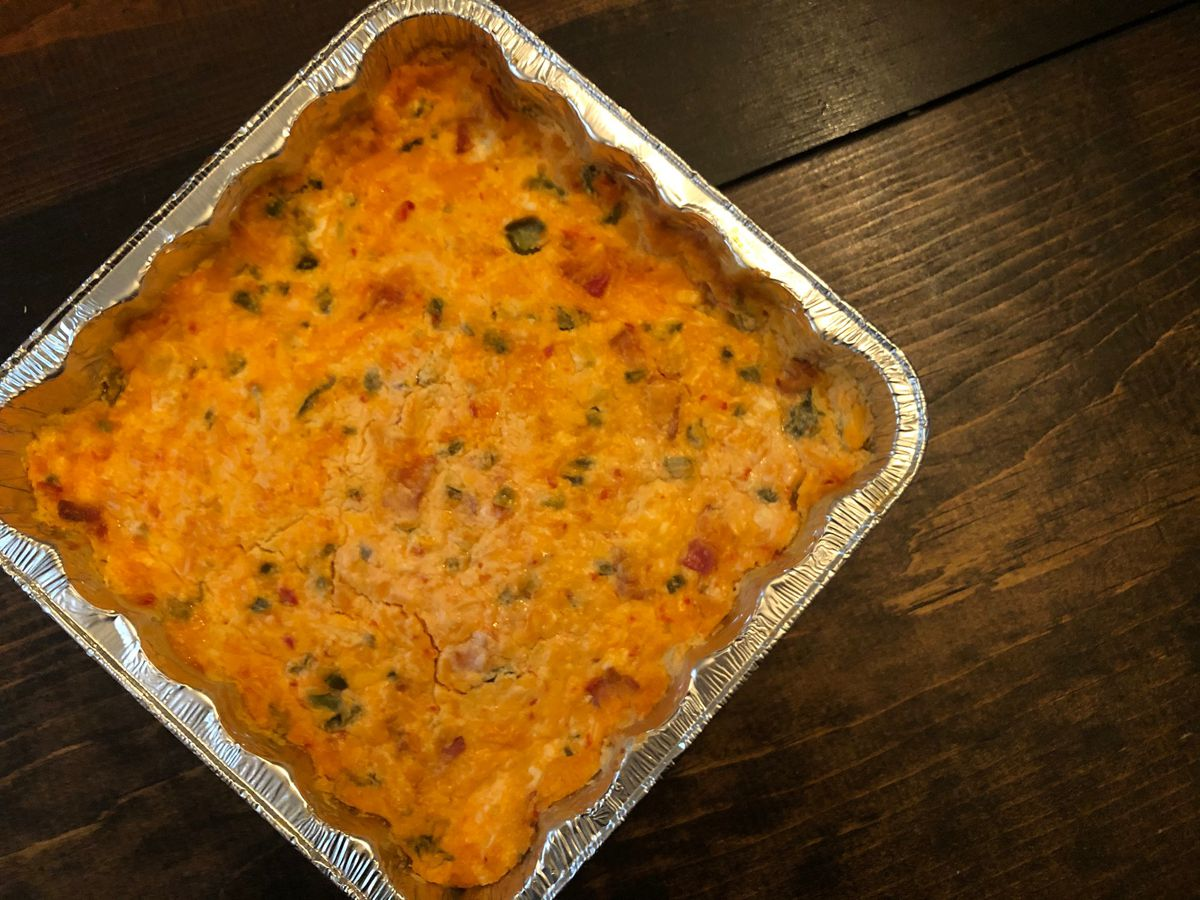 Spicy baked pimiento cheese dip by Mama Steph