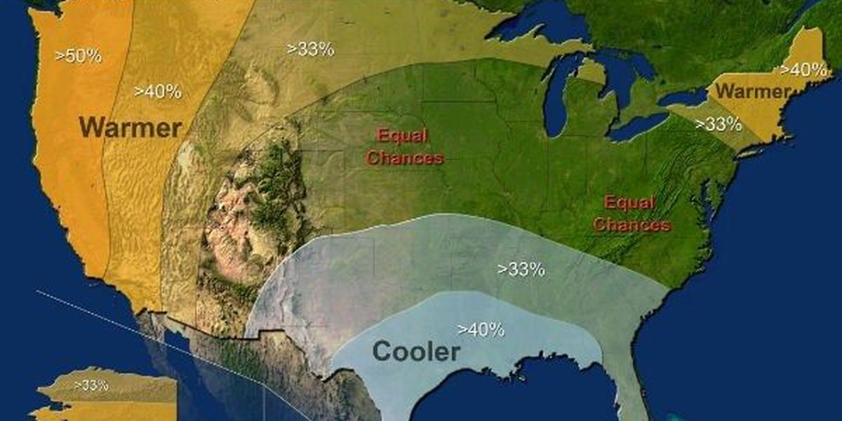 NOAA says a cooler and wetter winter is expected for East Texas