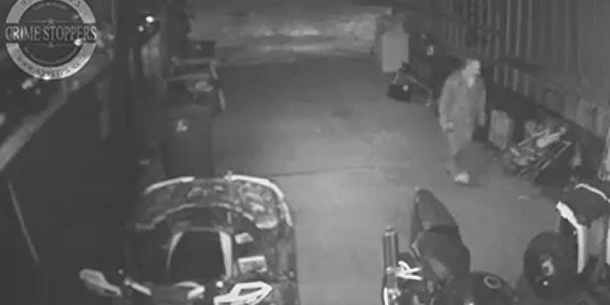 Burglar steals fuel and parts from vehicles at business, Crime Stoppers looking for info