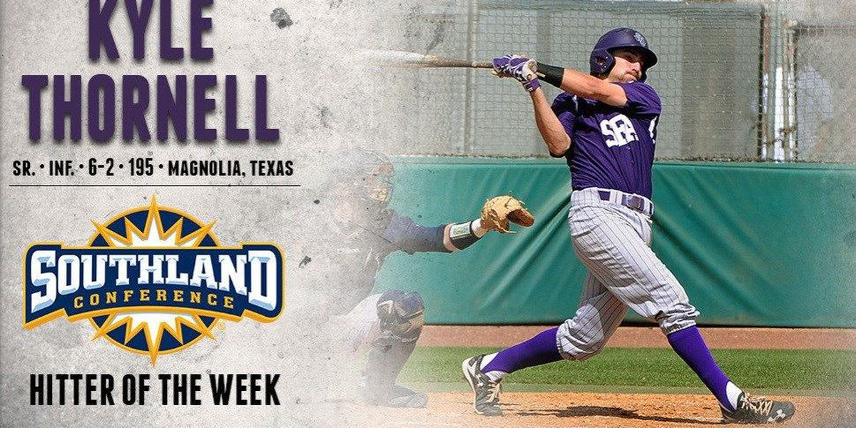 Thornell secures second-straight Southland Conference Hitter of the Week Award