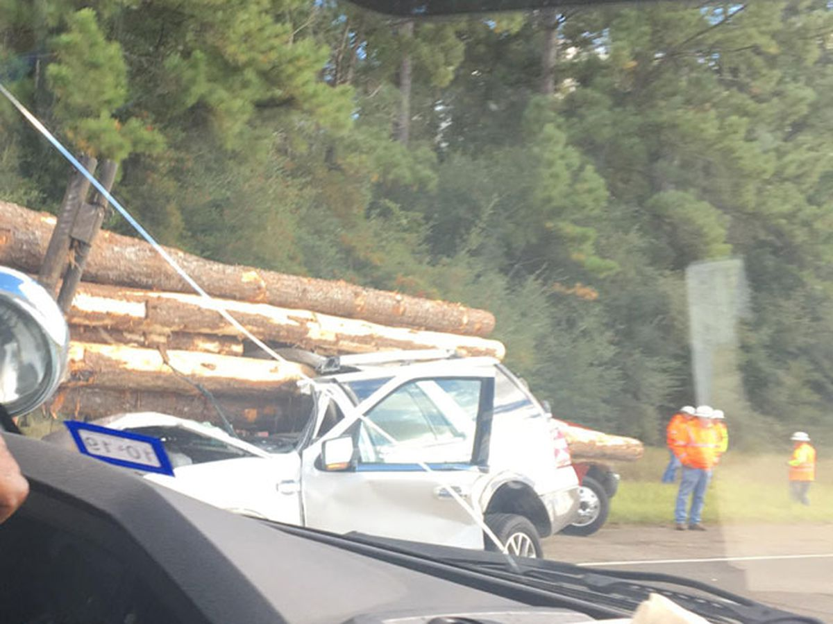 Woman airlifted to hospital after log truck collision on Hwy 69