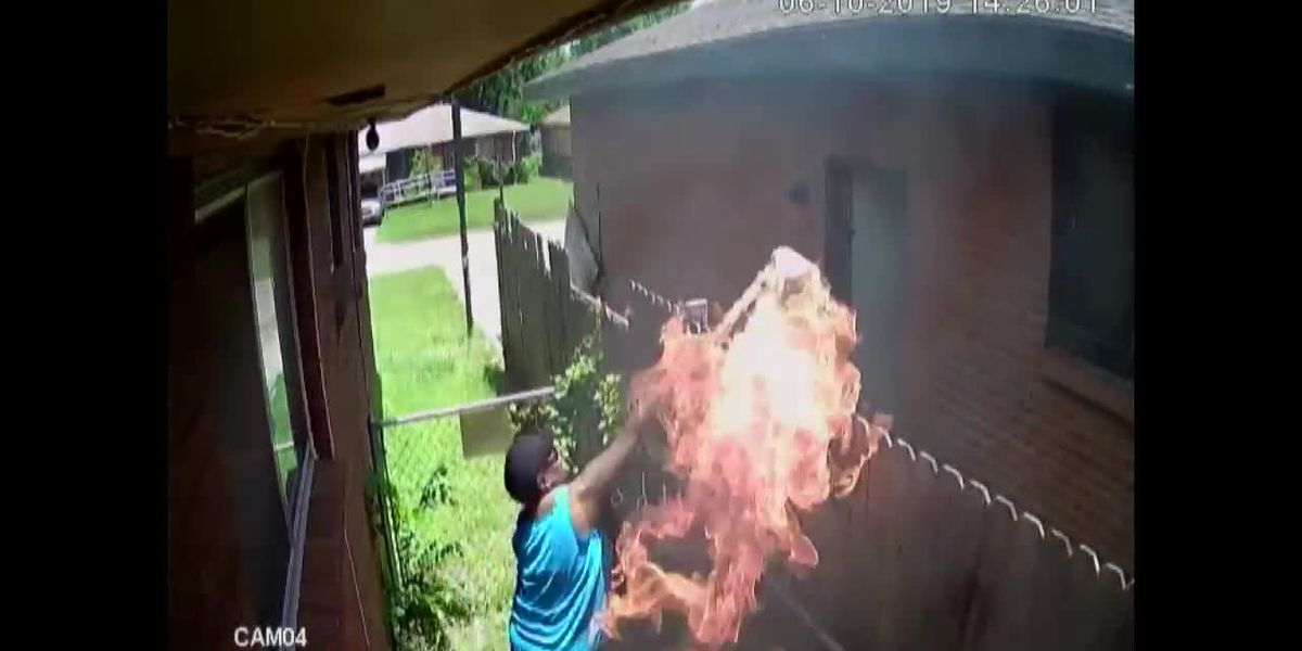 Woman's surveillance video shows her shooting at neighboring home, throwing flaming towel at open door