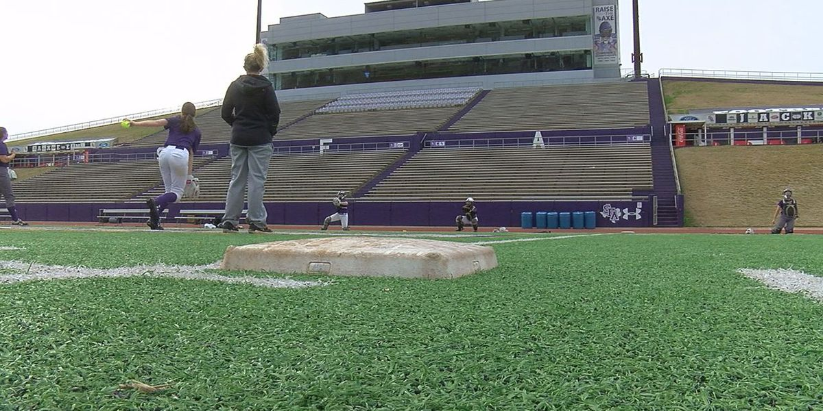 SFA softball utilizes football field for first spring practice