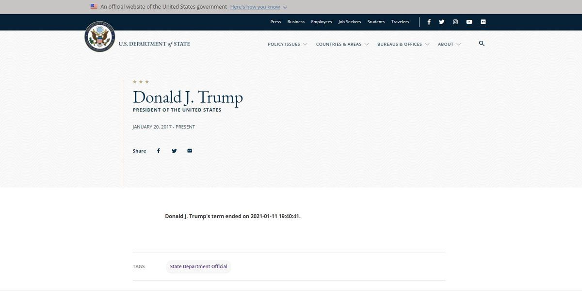 State Dept. website bio for Trump changed to say his term ends Monday