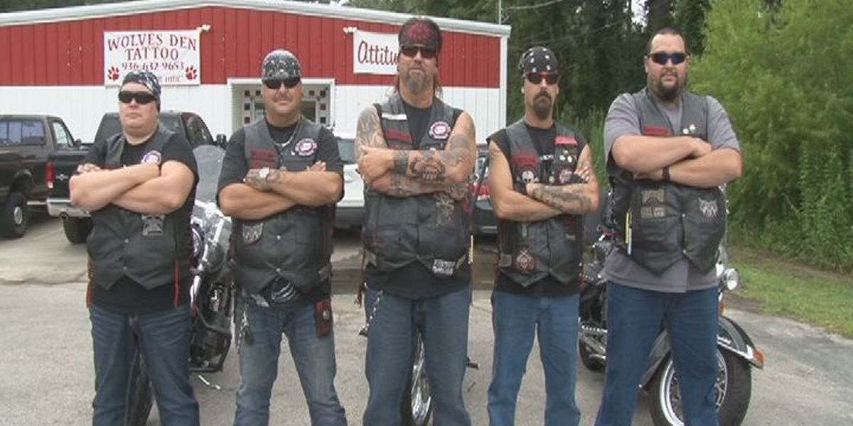 Bikers Against Child Abuse putting their kickstands down in Lufkin